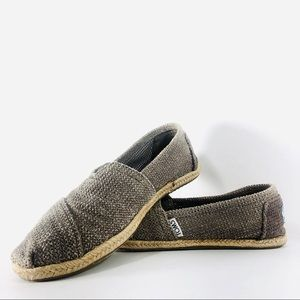 Toms Taupe Espadrille Rope Lined Classic Shoes 7